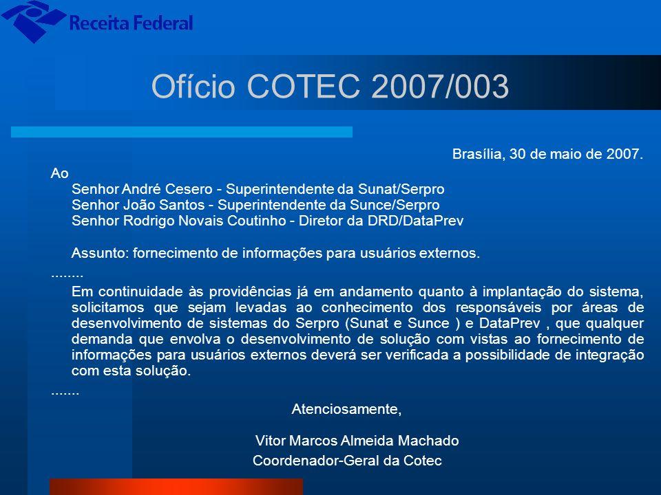 Ofício COTEC 2007/003 Brasília, 30 de maio de 2007. Ao Senhor André Cesero - Superintendente da Sunat/Serpro Senhor João Santos - Superintendente da S