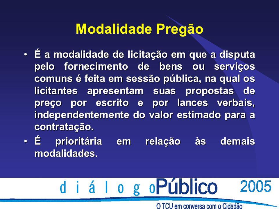 Modalidade Pregão É a modalidade de licitação em que a disputa pelo fornecimento de bens ou serviços comuns é feita em sessão pública, na qual os lici