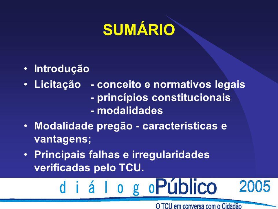 SUMÁRIO Introdução Licitação- conceito e normativos legais - princípios constitucionais - modalidades Modalidade pregão - características e vantagens;
