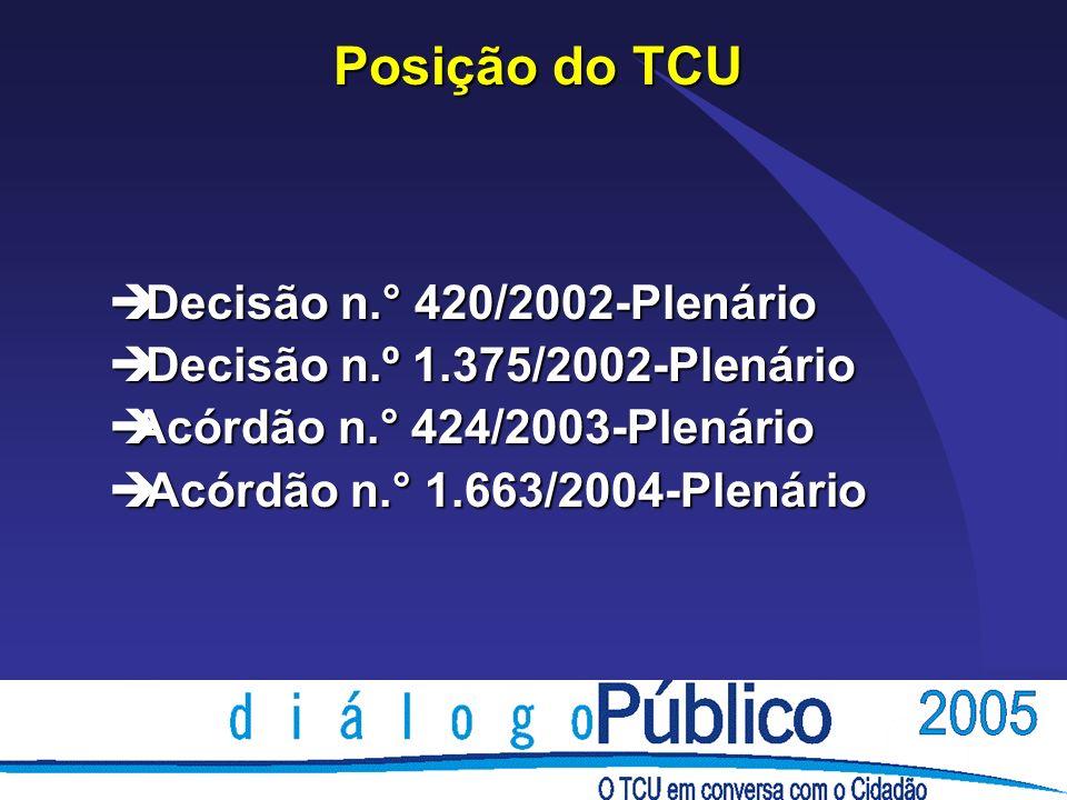 Posição do TCU è Decisão n.° 420/2002-Plenário è Decisão n.º 1.375/2002-Plenário èAcórdão n.° 424/2003-Plenário è Acórdão n.° 1.663/2004-Plenário
