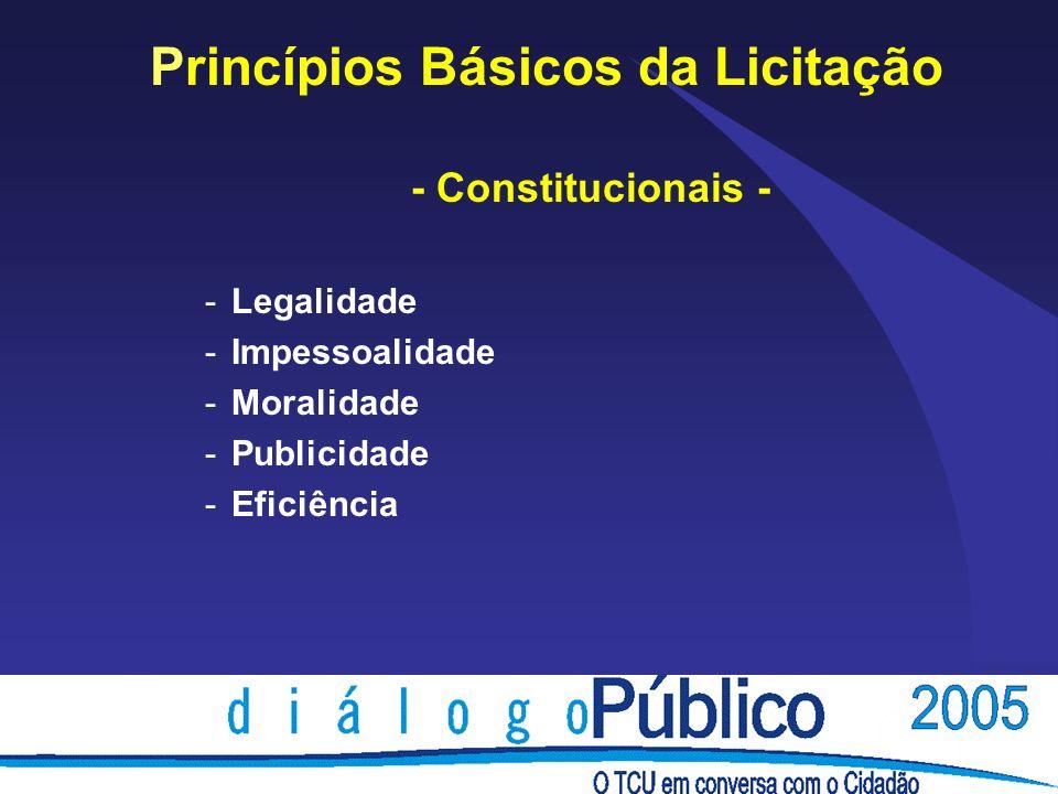 Princípios Básicos da Licitação - Constitucionais - -Legalidade -Impessoalidade -Moralidade -Publicidade -Eficiência