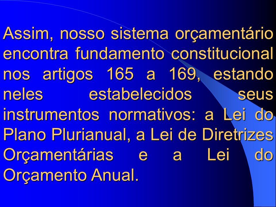 Assim, nosso sistema orçamentário encontra fundamento constitucional nos artigos 165 a 169, estando neles estabelecidos seus instrumentos normativos: a Lei do Plano Plurianual, a Lei de Diretrizes Orçamentárias e a Lei do Orçamento Anual.