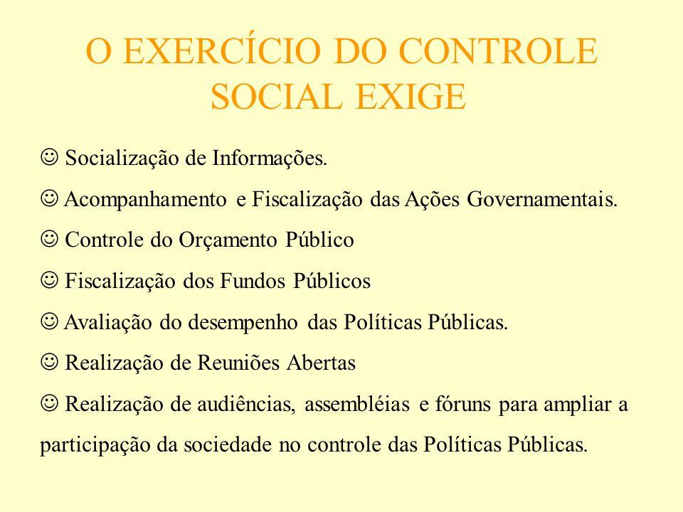 O EXERCÍCIO DO CONTROLE SOCIAL EXIGE : Socialização de Informações. Acompanhamento e Fiscalização das Ações Governamentais. Controle do Orçamento Públ