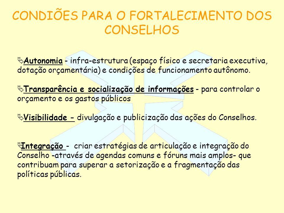 CONDIÕES PARA O FORTALECIMENTO DOS CONSELHOS Autonomia - infra-estrutura (espaço físico e secretaria executiva, dotação orçamentária) e condições de f