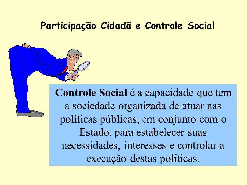Participação Cidadã e Controle Social Controle Social é a capacidade que tem a sociedade organizada de atuar nas políticas públicas, em conjunto com o