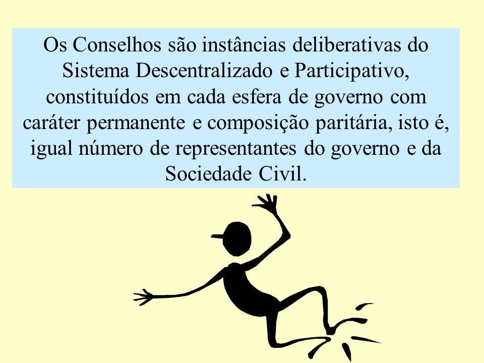 Os Conselhos são instâncias deliberativas do Sistema Descentralizado e Participativo, constituídos em cada esfera de governo com caráter permanente e