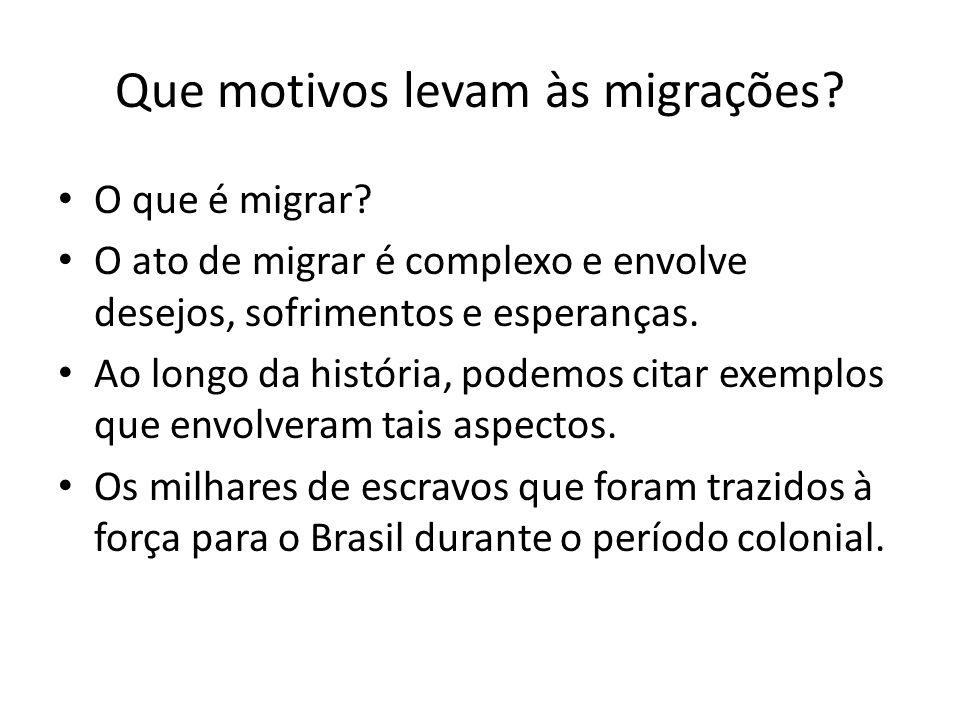 Que motivos levam às migrações? O que é migrar? O ato de migrar é complexo e envolve desejos, sofrimentos e esperanças. Ao longo da história, podemos