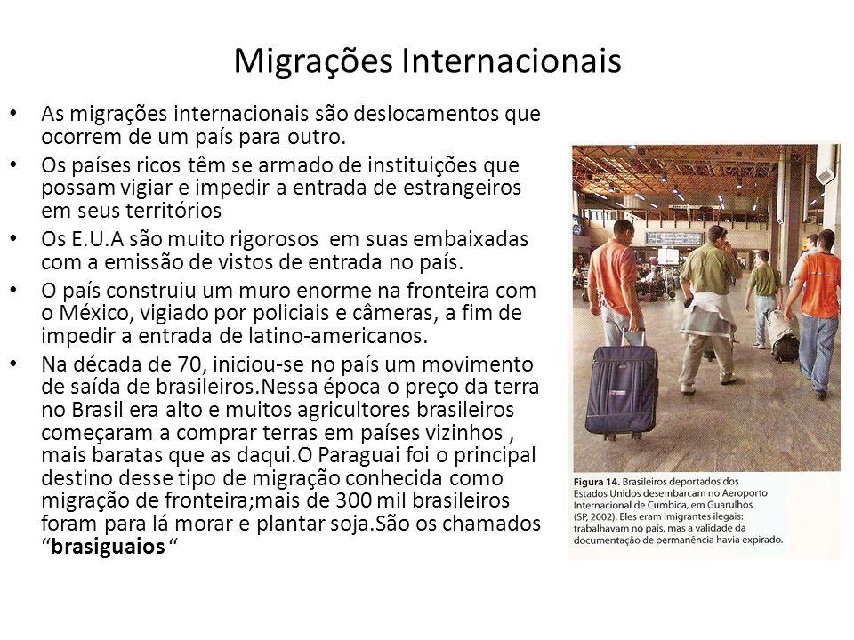Migrações Internacionais As migrações internacionais são deslocamentos que ocorrem de um país para outro. Os países ricos têm se armado de instituiçõe