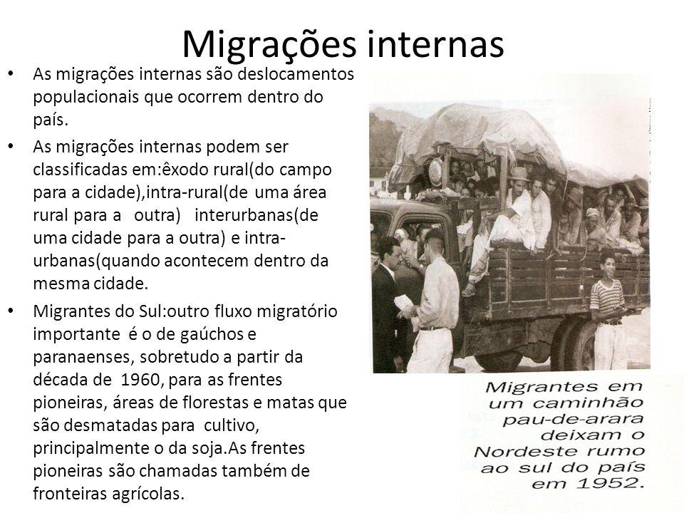 Migrações internas As migrações internas são deslocamentos populacionais que ocorrem dentro do país. As migrações internas podem ser classificadas em: