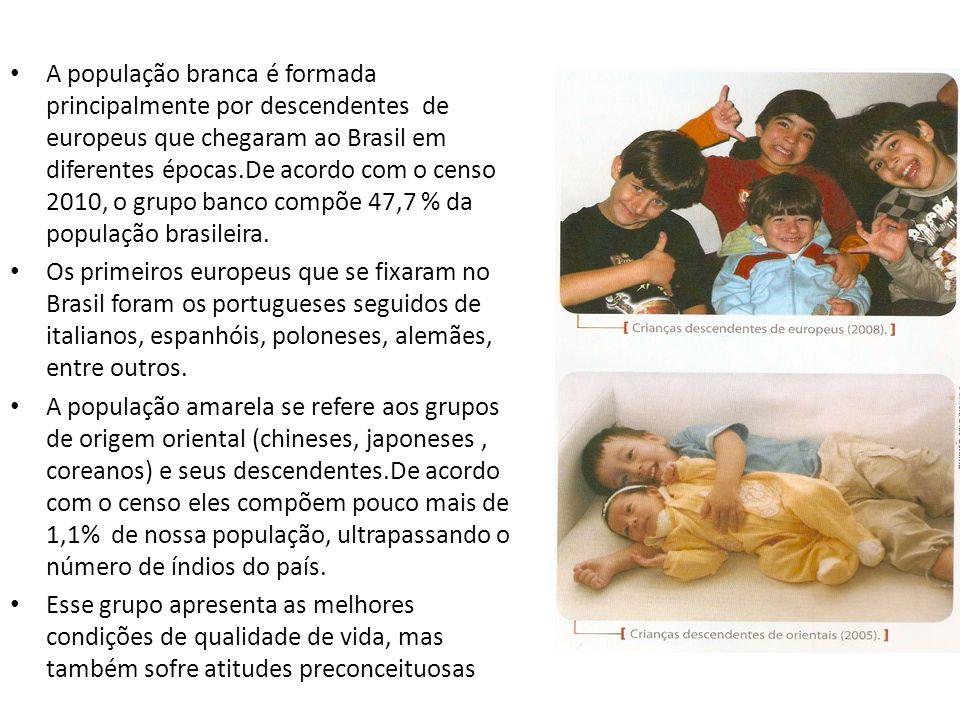 A população branca é formada principalmente por descendentes de europeus que chegaram ao Brasil em diferentes épocas.De acordo com o censo 2010, o gru