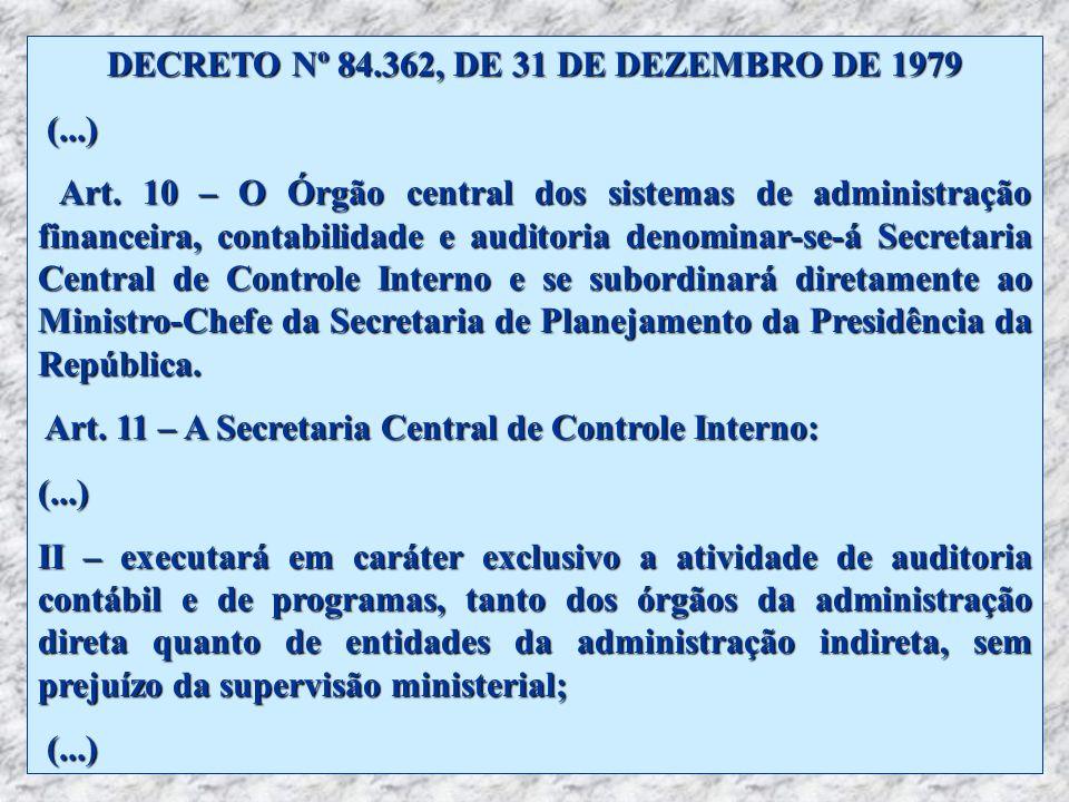 DECRETO Nº 84.362, DE 31 DE DEZEMBRO DE 1979 (...) Art. 10 – O Órgão central dos sistemas de administração financeira, contabilidade e auditoria denom