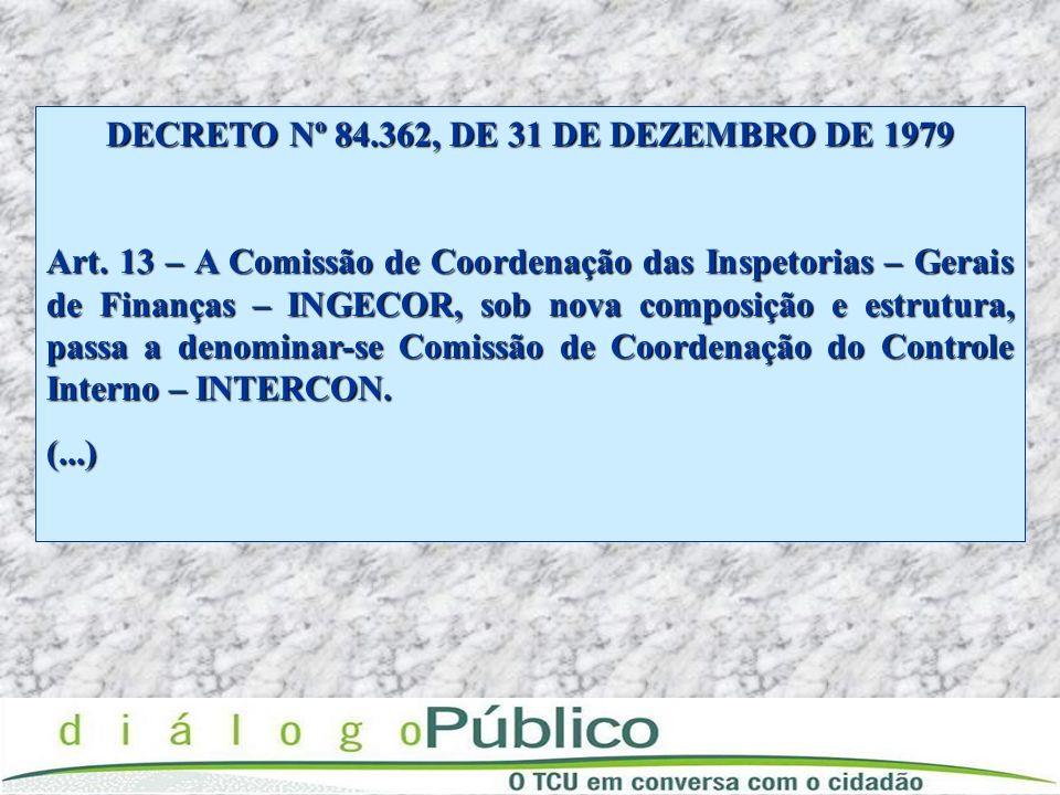 DECRETO Nº 84.362, DE 31 DE DEZEMBRO DE 1979 Art. 13 – A Comissão de Coordenação das Inspetorias – Gerais de Finanças – INGECOR, sob nova composição e