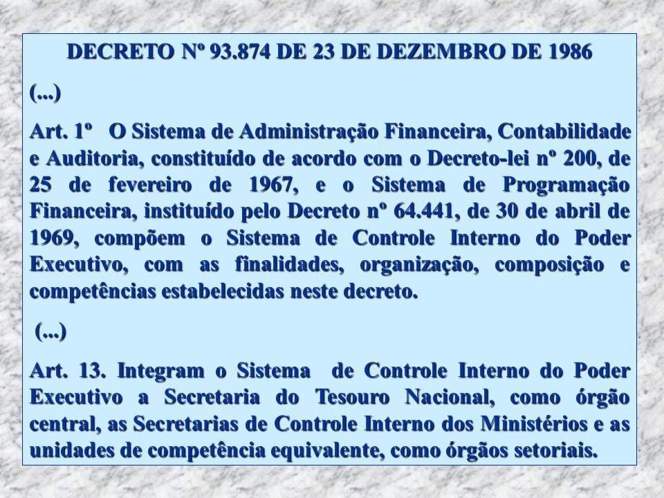 DECRETO Nº 93.874 DE 23 DE DEZEMBRO DE 1986 (...) Art. 1º O Sistema de Administração Financeira, Contabilidade e Auditoria, constituído de acordo com