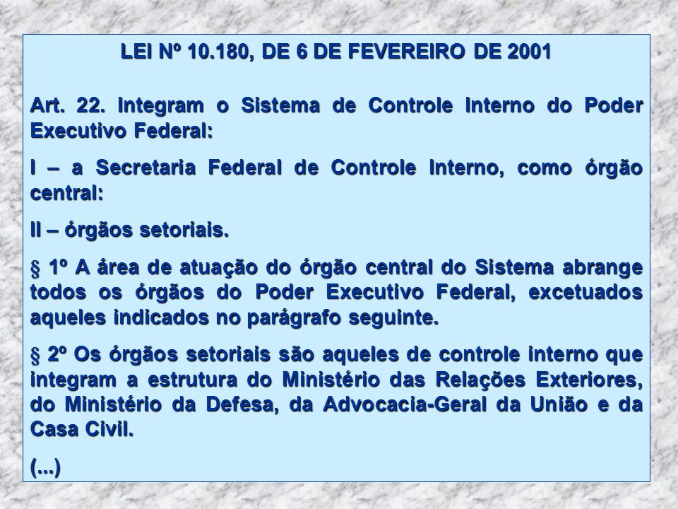 LEI Nº 10.180, DE 6 DE FEVEREIRO DE 2001 Art. 22. Integram o Sistema de Controle Interno do Poder Executivo Federal: I – a Secretaria Federal de Contr