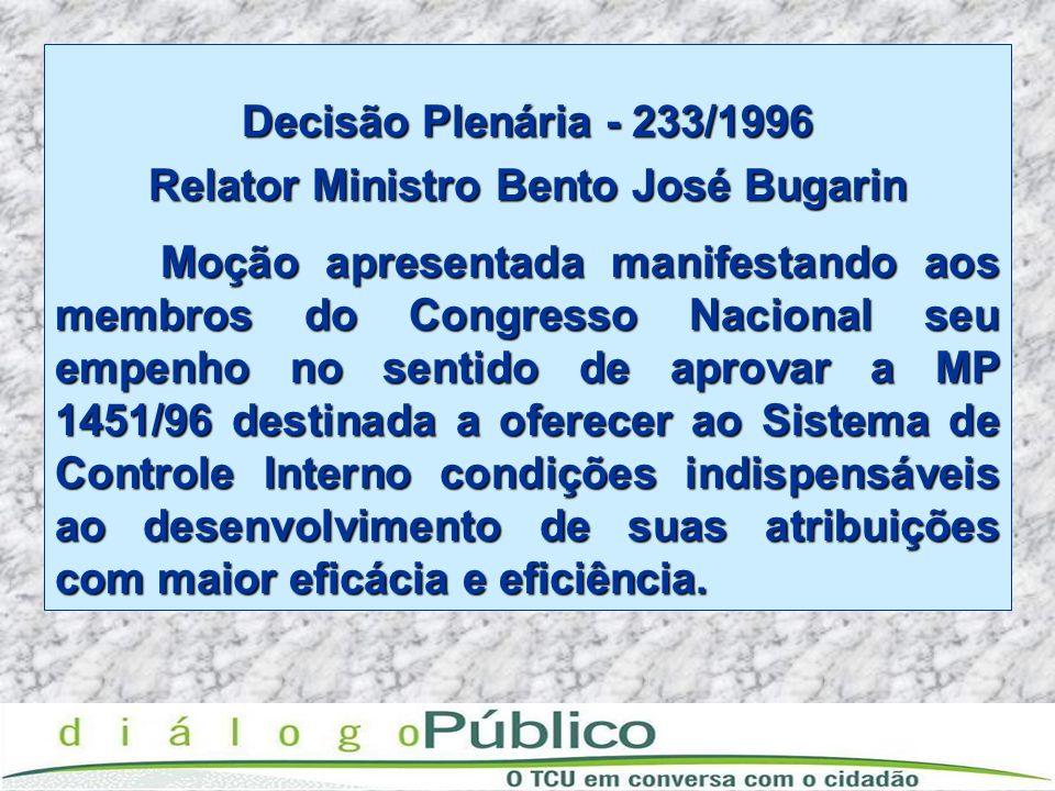 Decisão Plenária - 233/1996 Relator Ministro Bento José Bugarin Moção apresentada manifestando aos membros do Congresso Nacional seu empenho no sentid
