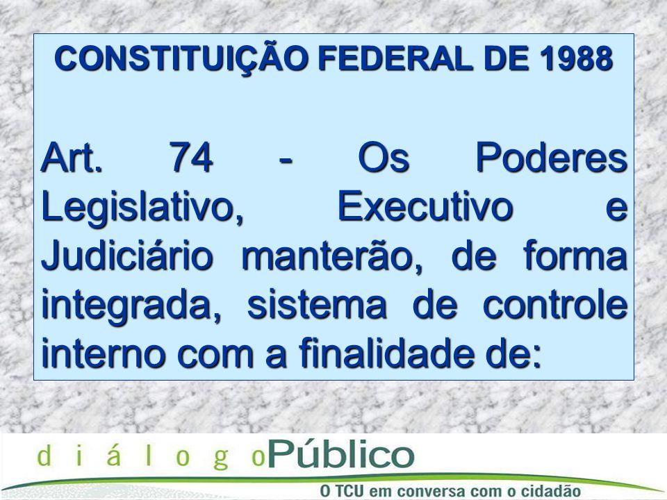 CONSTITUIÇÃO FEDERAL DE 1988 Art. 74 - Os Poderes Legislativo, Executivo e Judiciário manterão, de forma integrada, sistema de controle interno com a