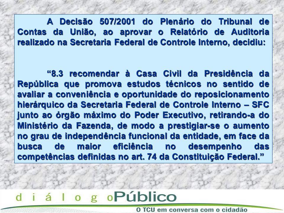 A Decisão 507/2001 do Plenário do Tribunal de Contas da União, ao aprovar o Relatório de Auditoria realizado na Secretaria Federal de Controle Interno