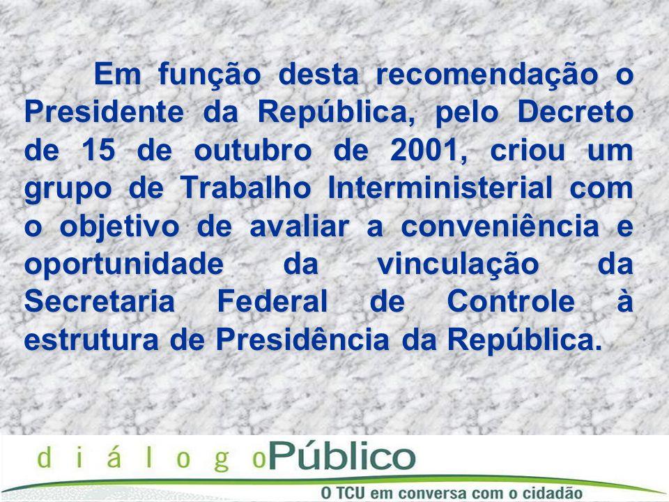 Em função desta recomendação o Presidente da República, pelo Decreto de 15 de outubro de 2001, criou um grupo de Trabalho Interministerial com o objet