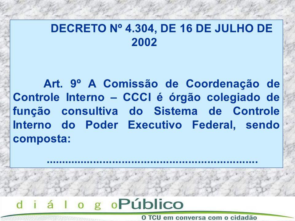 DECRETO Nº 4.304, DE 16 DE JULHO DE 2002 Art. 9º A Comissão de Coordenação de Controle Interno – CCCI é órgão colegiado de função consultiva do Sistem