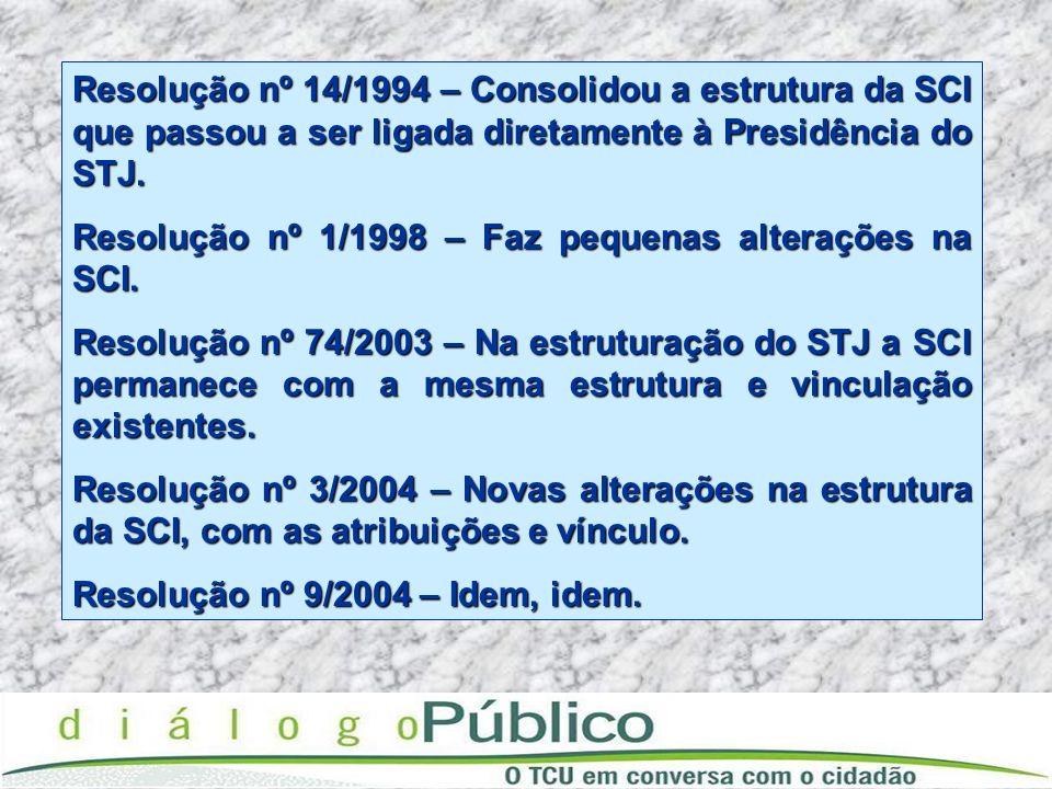 Resolução nº 14/1994 – Consolidou a estrutura da SCI que passou a ser ligada diretamente à Presidência do STJ. Resolução nº 1/1998 – Faz pequenas alte