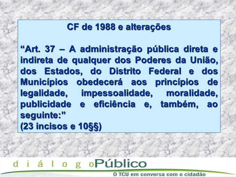 CF de 1988 e alterações Art. 37 – A administração pública direta e indireta de qualquer dos Poderes da União, dos Estados, do Distrito Federal e dos M