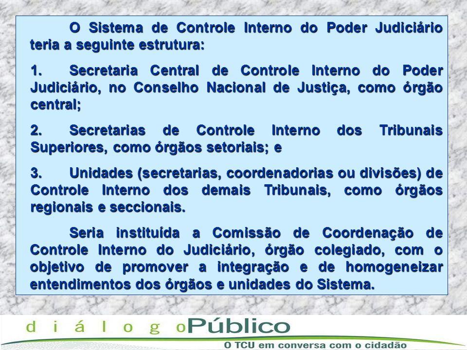O Sistema de Controle Interno do Poder Judiciário teria a seguinte estrutura: 1.Secretaria Central de Controle Interno do Poder Judiciário, no Conselh