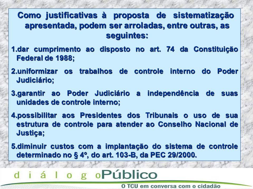 Como justificativas à proposta de sistematização apresentada, podem ser arroladas, entre outras, as seguintes: Como justificativas à proposta de siste