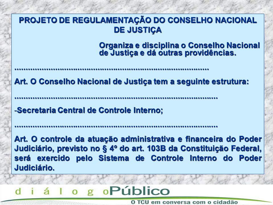 PROJETO DE REGULAMENTAÇÃO DO CONSELHO NACIONAL DE JUSTIÇA Organiza e disciplina o Conselho Nacional Organiza e disciplina o Conselho Nacional de Justi