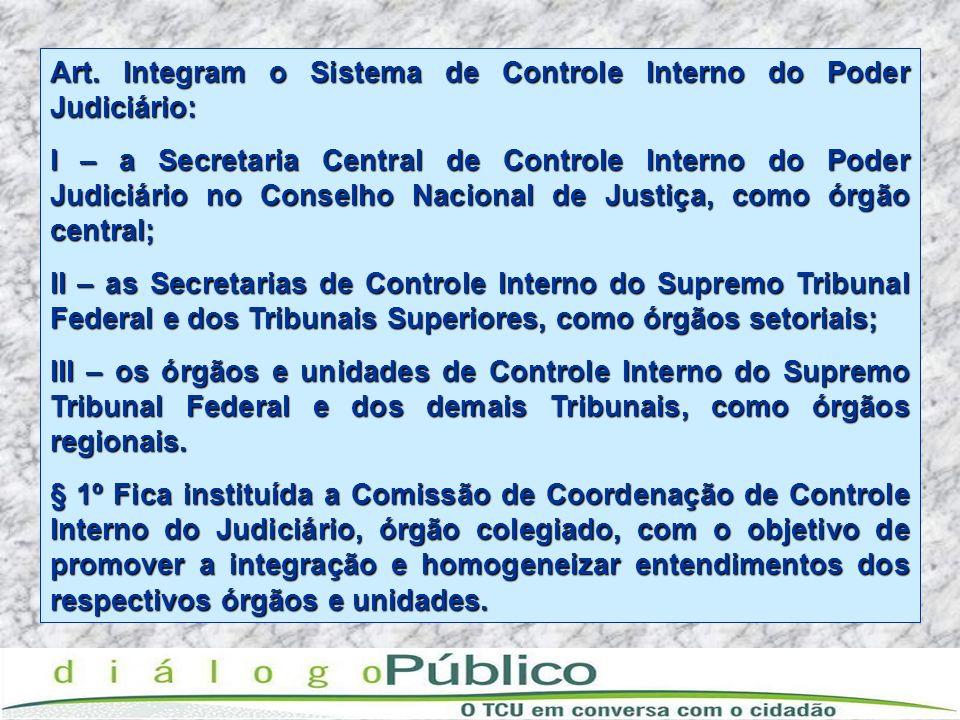 Art. Integram o Sistema de Controle Interno do Poder Judiciário: I – a Secretaria Central de Controle Interno do Poder Judiciário no Conselho Nacional