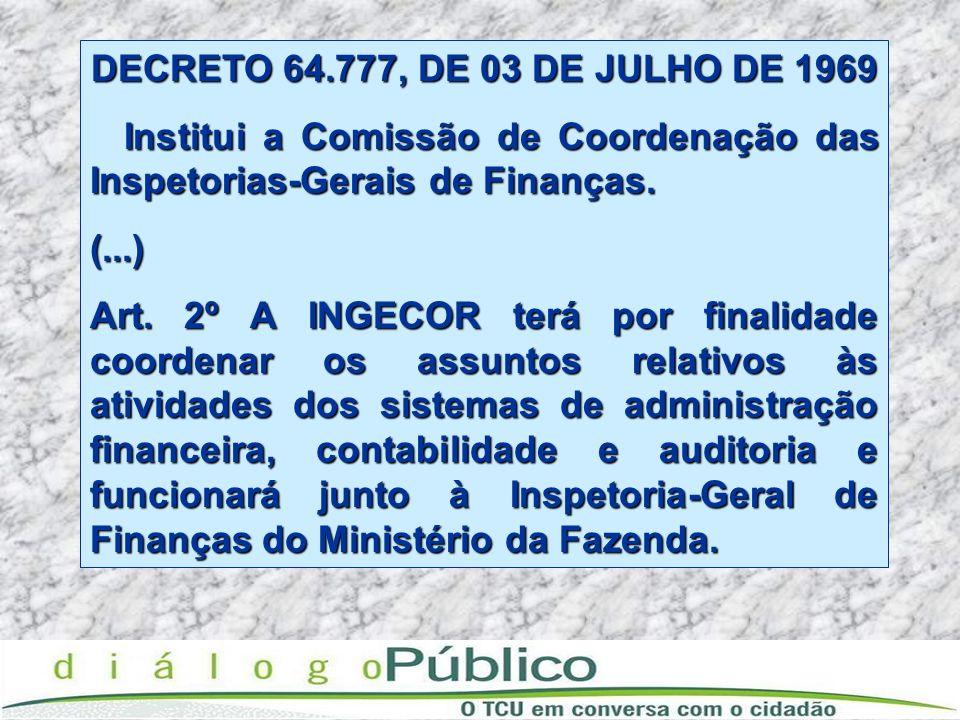 DECRETO 64.777, DE 03 DE JULHO DE 1969 Institui a Comissão de Coordenação das Inspetorias-Gerais de Finanças. Institui a Comissão de Coordenação das I
