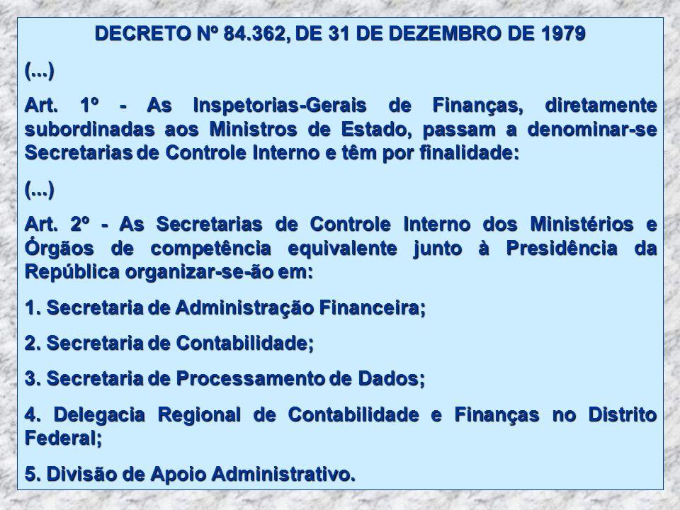 DECRETO Nº 84.362, DE 31 DE DEZEMBRO DE 1979 (...) Art. 1º - As Inspetorias-Gerais de Finanças, diretamente subordinadas aos Ministros de Estado, pass