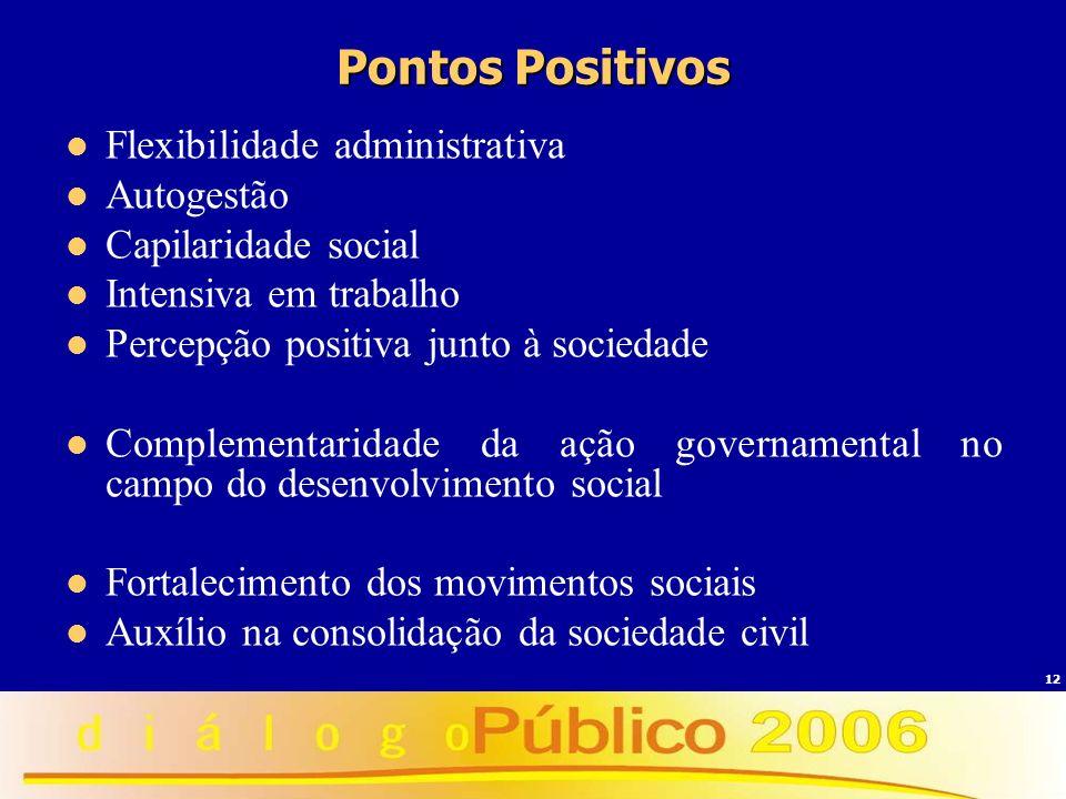 12 Pontos Positivos Flexibilidade administrativa Autogestão Capilaridade social Intensiva em trabalho Percepção positiva junto à sociedade Complementa