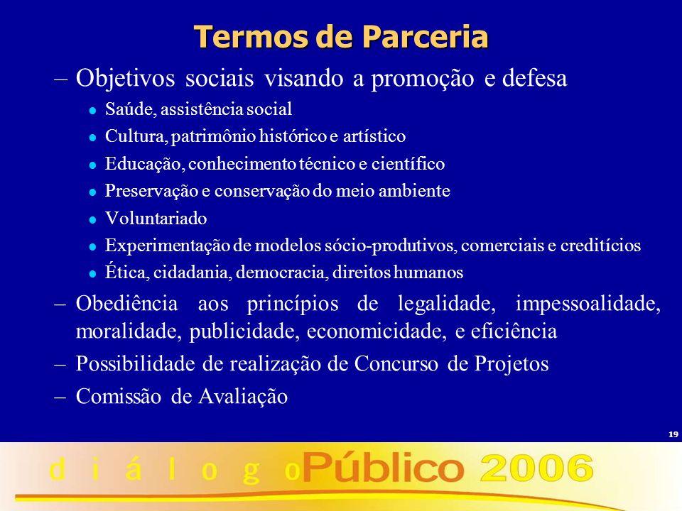 19 Termos de Parceria –Objetivos sociais visando a promoção e defesa Saúde, assistência social Cultura, patrimônio histórico e artístico Educação, con