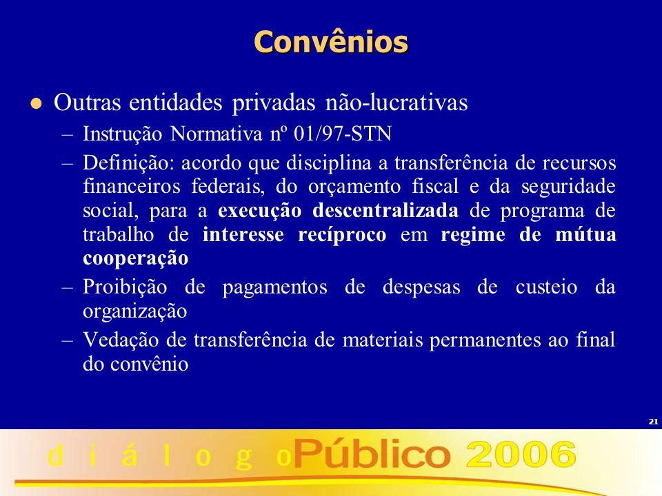 21 Convênios Outras entidades privadas não-lucrativas –Instrução Normativa nº 01/97-STN –Definição: acordo que disciplina a transferência de recursos