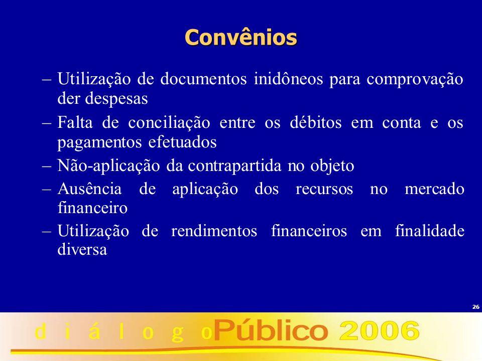 26 Convênios –Utilização de documentos inidôneos para comprovação der despesas –Falta de conciliação entre os débitos em conta e os pagamentos efetuad