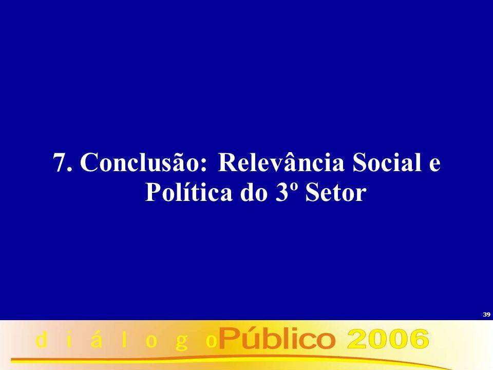 39 7. Conclusão: Relevância Social e Política do 3º Setor
