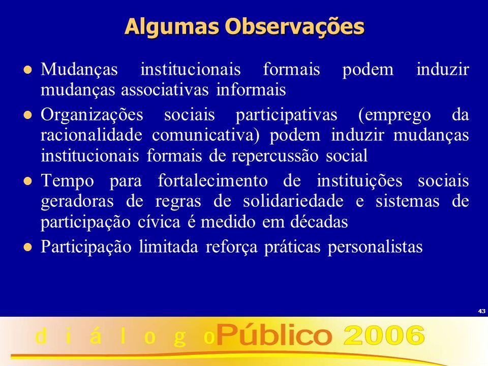 43 Algumas Observações Mudanças institucionais formais podem induzir mudanças associativas informais Organizações sociais participativas (emprego da r