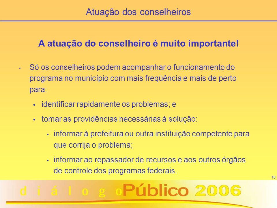 10 A atuação do conselheiro é muito importante! Só os conselheiros podem acompanhar o funcionamento do programa no município com mais freqüência e mai