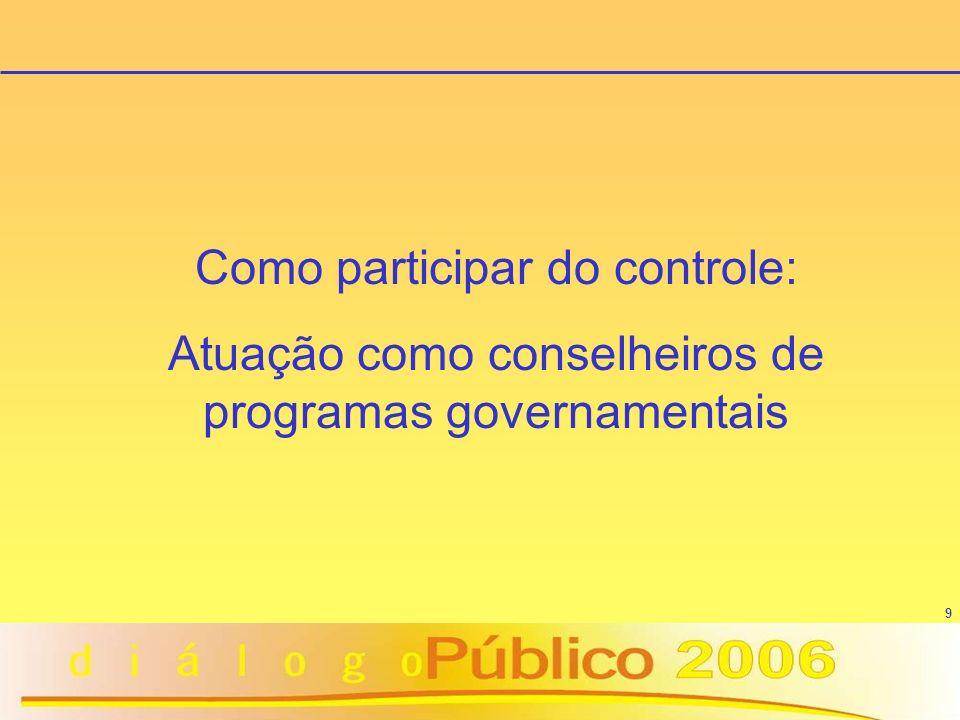 9 Como participar do controle: Atuação como conselheiros de programas governamentais