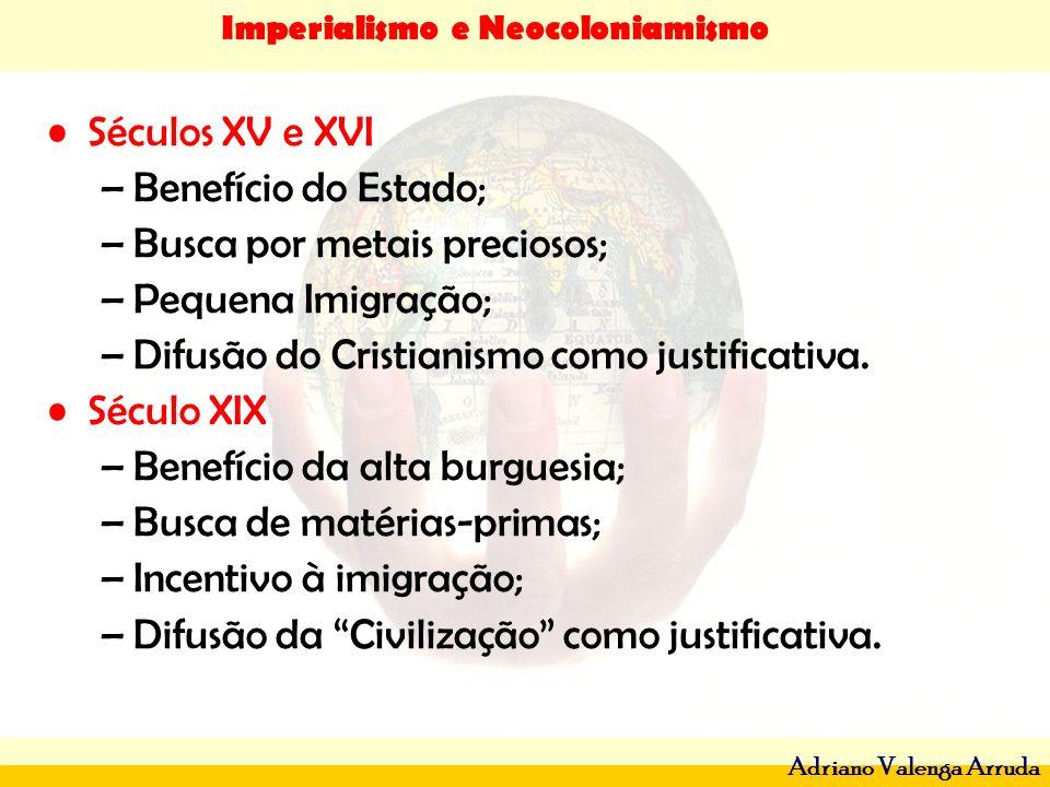 Imperialismo e Neocoloniamismo Adriano Valenga Arruda Séculos XV e XVI –Benefício do Estado; –Busca por metais preciosos; –Pequena Imigração; –Difusão