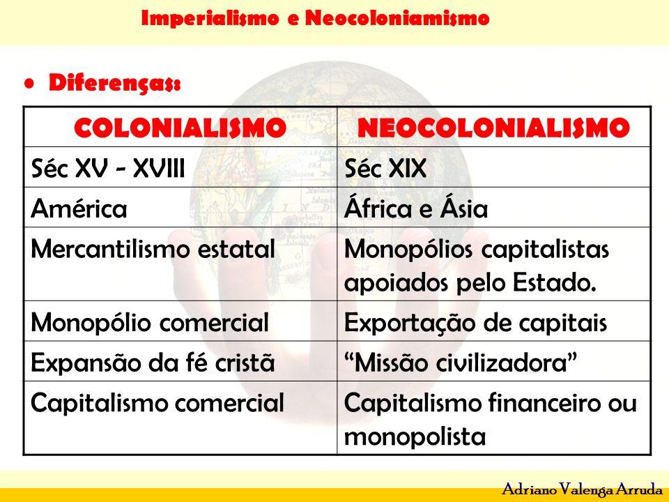 Imperialismo e Neocoloniamismo Adriano Valenga Arruda Diferenças: COLONIALISMONEOCOLONIALISMO Séc XV - XVIIISéc XIX AméricaÁfrica e Ásia Mercantilismo