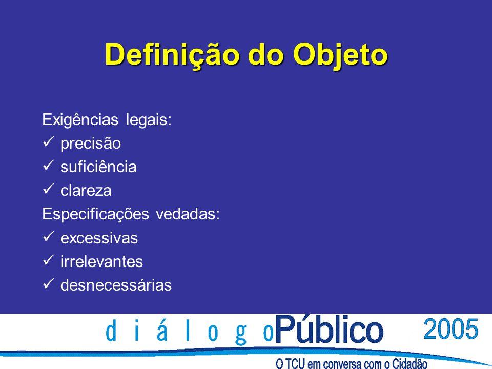 Definição do Objeto Exigências legais: precisão suficiência clareza Especificações vedadas: excessivas irrelevantes desnecessárias