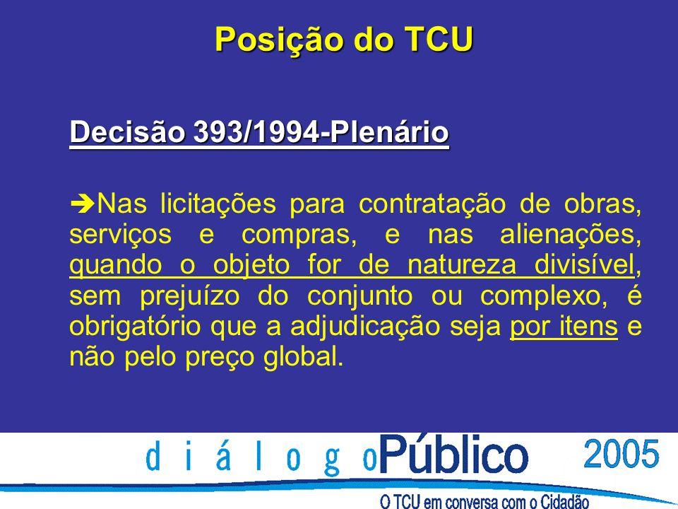 Posição do TCU Decisão 393/1994-Plenário è Nas licitações para contratação de obras, serviços e compras, e nas alienações, quando o objeto for de natureza divisível, sem prejuízo do conjunto ou complexo, é obrigatório que a adjudicação seja por itens e não pelo preço global.