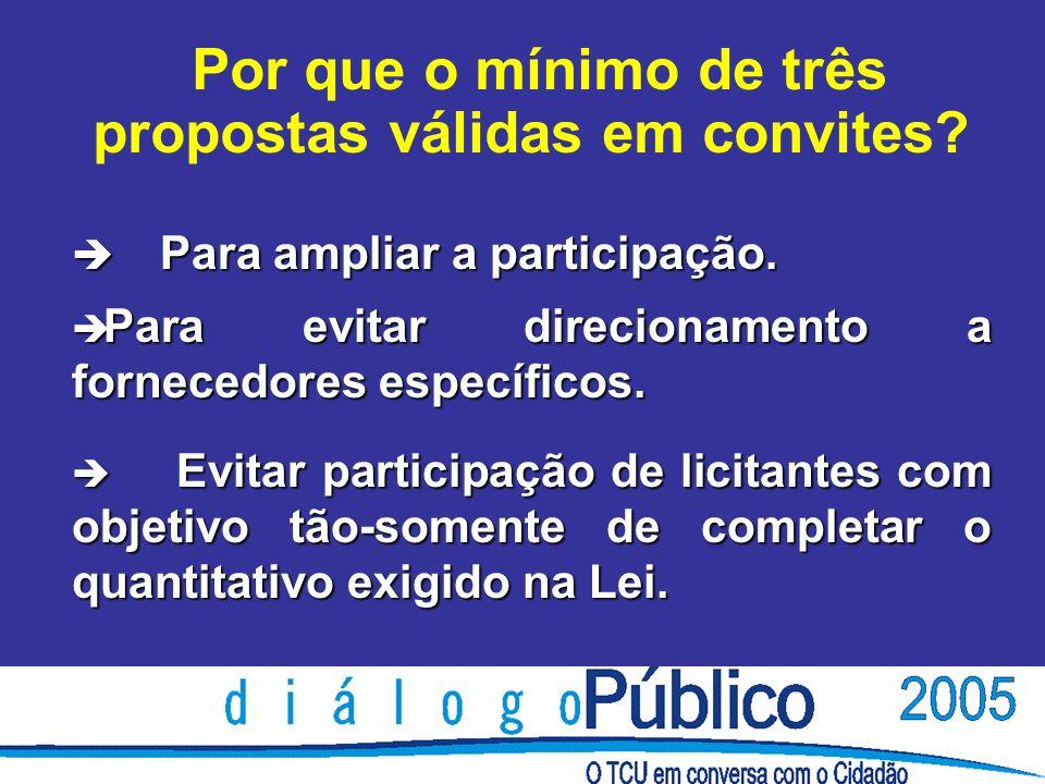 è Para ampliar a participação. è Para evitar direcionamento a fornecedores específicos.