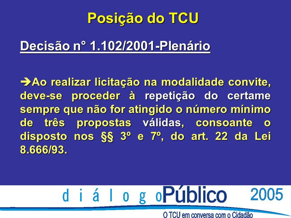 Posição do TCU Decisão n° 1.102/2001-Plenário è Ao realizar licitação na modalidade convite, deve-se proceder à repetição do certame sempre que não for atingido o número mínimo de três propostas válidas, consoante o disposto nos §§ 3º e 7º, do art.