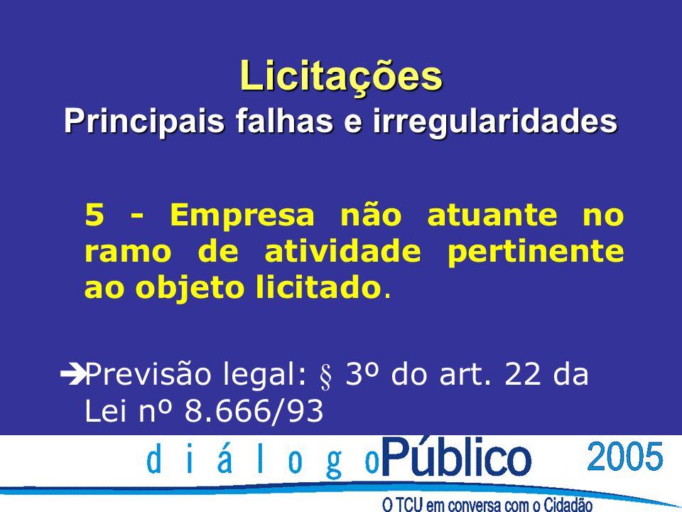 Licitações Principais falhas e irregularidades 5 - Empresa não atuante no ramo de atividade pertinente ao objeto licitado.