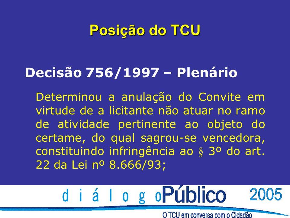 Posição do TCU Decisão 756/1997 – Plenário Determinou a anulação do Convite em virtude de a licitante não atuar no ramo de atividade pertinente ao objeto do certame, do qual sagrou-se vencedora, constituindo infringência ao § 3º do art.