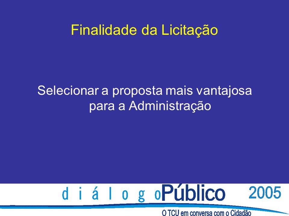 Finalidade da Licitação Selecionar a proposta mais vantajosa para a Administração