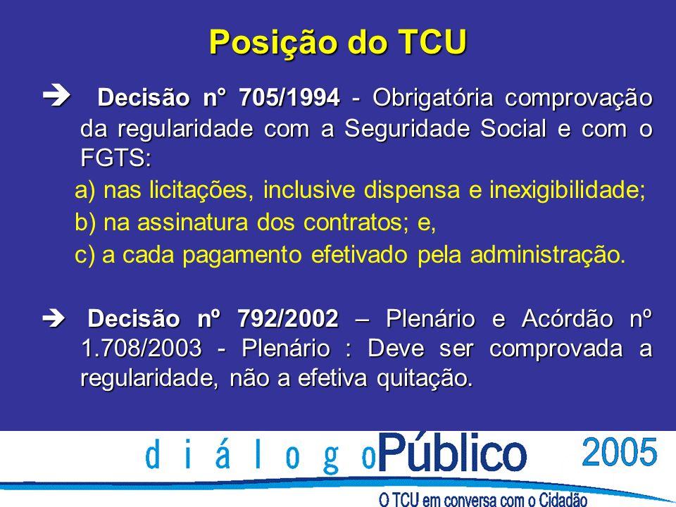Posição do TCU è Decisão n° 705/1994 - Obrigatória comprovação da regularidade com a Seguridade Social e com o FGTS: a) nas licitações, inclusive dispensa e inexigibilidade; b) na assinatura dos contratos; e, c) a cada pagamento efetivado pela administração.