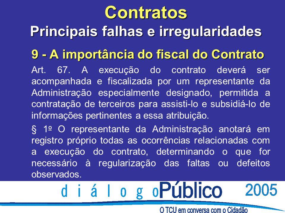 Contratos Principais falhas e irregularidades 9 - A importância do fiscal do Contrato Art.